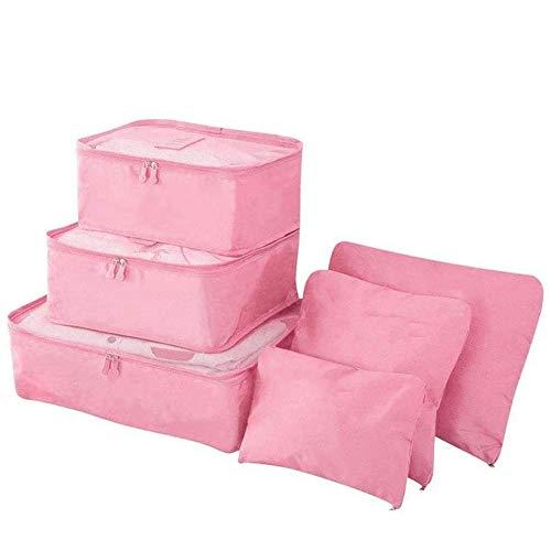 XYDZ Organizer Valigia , Set di 6 Organizzatori Valigie per Abbigliamento, Accessori Viaggio, Perfetto di Viaggio Dei Bagagli Organizzatore - Rosa