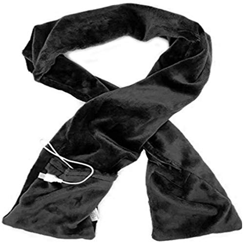 Fiery Scarf Winter Scarf Heated Scarf USB Heating Scarf Couple Scarf Unisex Gift (Black)