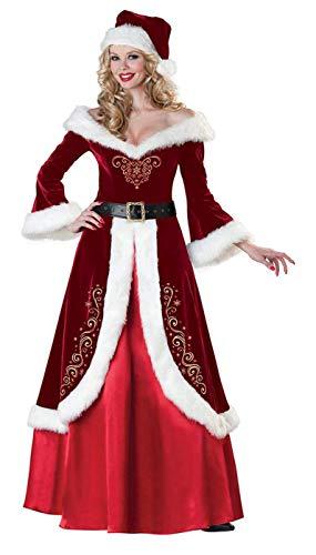 SWHRIOPD Costume Babbo Natale Donna Abito Natalizia da Donna Costume Santa, Rosso, con Abito, Cappello e Cintura