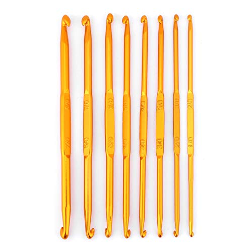 8Pcs Crochet Hook Set, Golden Alumina Double End Crochet Hook Weave Sweater Knitting Needles Kit DIY Hand-Made Craft Sewing Accessory (1/0-8/0)