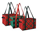 Earthwise Deluxe Collapsible Reusable Shopping Box Grocery Bag Set with Reinforced Bottom Plaid Holiday Xmas Christmas Design Storage Boxes Bins Cubes (Set of 3) (Holiday)