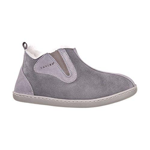 Vanuba Damenschuhe Lammfell Echtleder Wolle Pantoffeln Schlappen Damen Schuhe, grey/weiß, EU 40 40 EU Leder + Harz Grau/Weiß