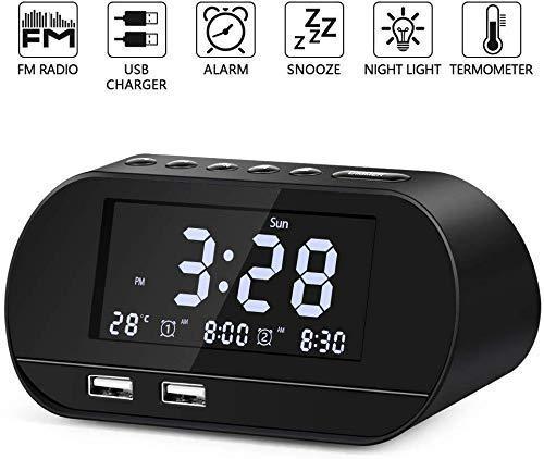 Radio Reloj Despertador para Dormitorio, Nakeey Reloj Despertador Digital Dual con Radio FM, Dobles Puertos de Carga USB, Enchufe de Carga, 6 Sonidos de Alarma, 6 Brillos y Función Snooze