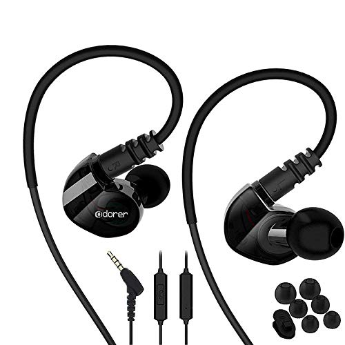 Running Sport Earphones Over Ear Buds with Microphone Remote Noise Cancelling Earhook Headphones Sweatproof in Ear Earphones for Gym Jogging Workout Exercise (Black)