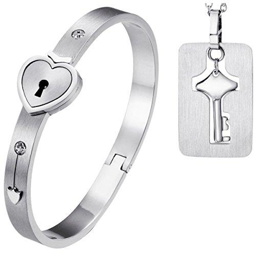 OIDEA Armband Partnerkette mit Herzschloss Schlüssel Armband Verliebt Edelstahl Mode Schmuck Geschenk Liebe Roségold Silber 2 Stück