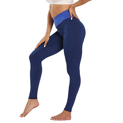 UMIPUBO Pantalones de mujer deportivos anticelulitis, cintura alta, para gimnasio, fitness, pantalones push up y yoga, pantalones con control de la barbilla, elásticos Azul 3 S