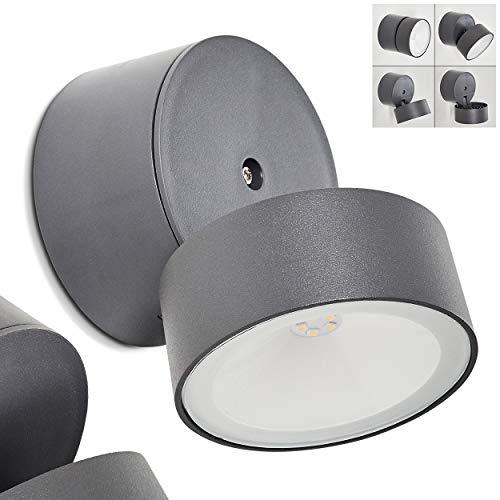 LED-buitenwandlamp Schelde, moderne wandlamp van aluminium in antraciet, verstelbare buitenlamp m. 8 Watt, 600 Lumen, lichtkleur 4000 Kelvin, ronde wandlamp voor terras/tuin/voordeur, IP54