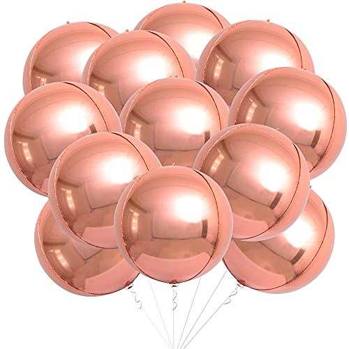 Big Rose Gold Foil Balloons for Birthday Decorations - Pack of 12   Large, 22 Inch 360 4D Round Sphere Metallic Rose Gold Balloons   Mirror Finish Rose Gold Mylar Balloon for Baby Shower, Bachelorette