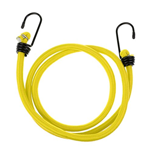 Bungee Cordon Crochet Sangle Élastique Attacher Voiture Vélo Moto Bagage Support - Jaune, 1,2 m x 8 mm