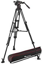Manfrotto 612 Nitrotech Fluid Video Head with Aluminum Twin Leg Tripod and Mid-Level Spreader, 26.45 lb Load Capacity