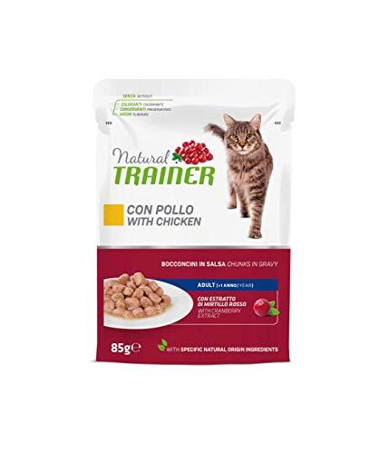 Natural Trainer - Cibo Umido per Gatti Adulti con Pollo e Fibra di Pisello - 12 Buste x 85gr - 1020 gr