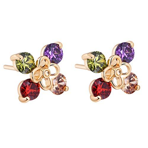 TENDYCOCO 1 Paio Donne Orecchini zircone Micro-intarsio Forma di Fiore Vuota Orecchini di Diamanti Orecchini Gioielli Regalo per Ragazza Signora (Multicolor)
