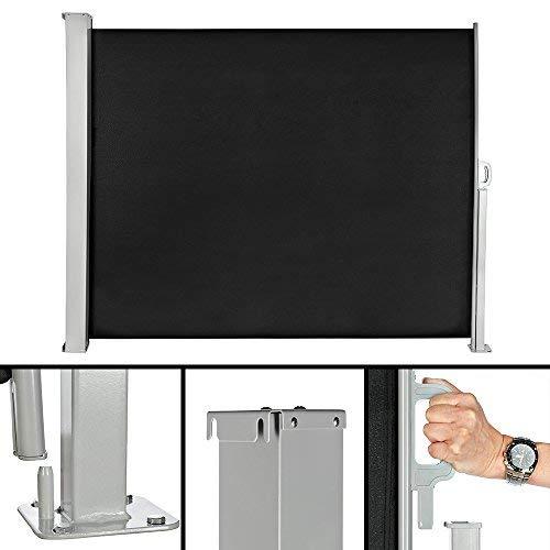 Melko Balkon Markise 180x300 cm Seitenmarkise ausziehbar Polyester Sichtschutz Seitenrollo Schwarz Windschutz Seitenrollo
