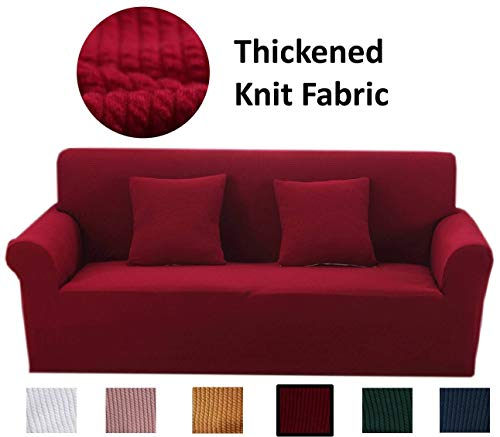 Argstar Thickened Slipcover for Large Couch, Thick Oversized Stretch Couch Slipcovers, Premium Knit Washable Strapless Large Sofa Protector and Elastic Oversized Couch Covers for Living Room, Wine Red