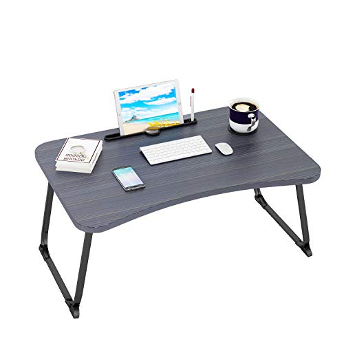 Ruitta Flodable Laptop Bed Table Tray, Laptop Bed Desk with Cup Holder & Tablet Phone Holder & Pen Slot, Lap Desk Stand, Bed Desk Tray, Lap Standing Desk, Laptop Table for Bed Sofa Couch Floor (Black)