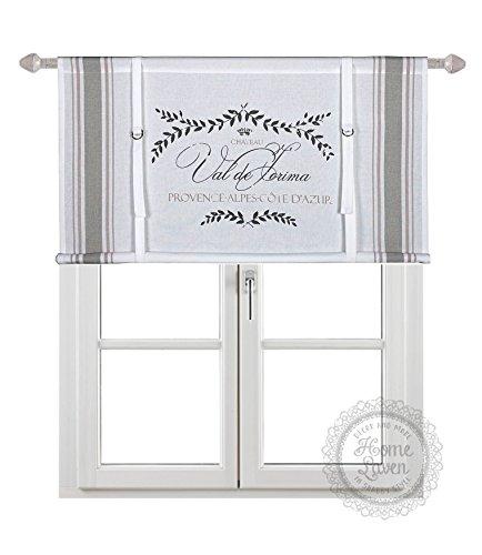 Scheibengardine Raff Gardine Raffrollo Vorhang 'PROVENCE' 120 x 90 cm (BxH) weiß beige rosa mit Aufdruck Baumwolle Landhaus Shabby French Vintage Retro Antik Nostalgie