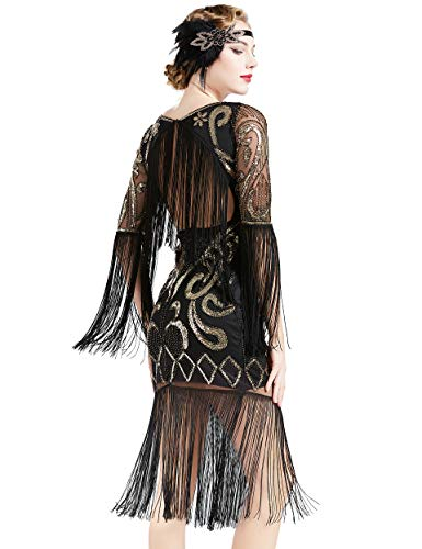 Coucoland Damen 1920s Kleid Lang Ärmel Fransen Flapper Kleid 20er Jahre Paillettenkleider Great Gatsby Cocktail Party Damen Fasching Kostüm Kleid (Schwarz, XL)
