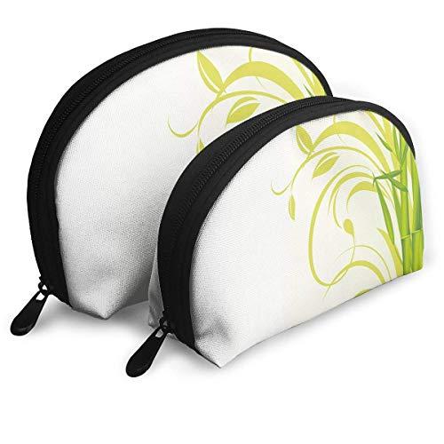 Shell Shape Makeup Bag Set Tragbare Geldbörse Reise Kosmetikbeutel, Bambus mit künstlerischen Blumen lockige Blätter EIN Feng Shui Zen Garten, Frauen Toilettenartikel Clutch