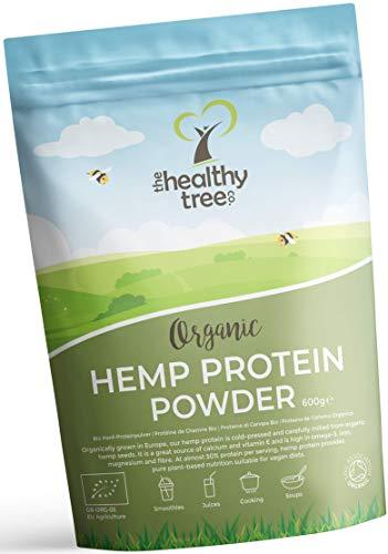 Proteína de Cáñamo Orgánico en Polvo de TheHealthyTree Company - Cosechado en Europa - Vegano, Alto en Omega-3, Hierro, Aminoácidos y Magnesio - Proteína Cáñamo Crudo (600 g)