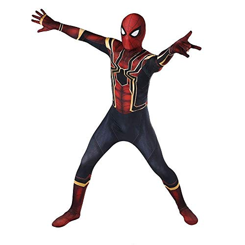 Cona Iron Spider Man Costumes Adult/Kids Unisex Lycra Spandex Halloween Cosplay Suits (Kids-Small)