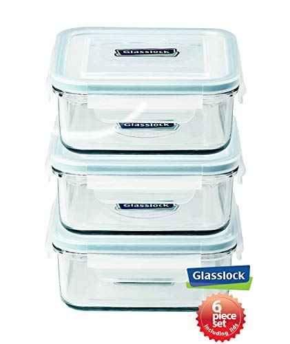 Glasslock FoodStorage Container with Locking Lids and Microwave Safe  Square 30 Ounces