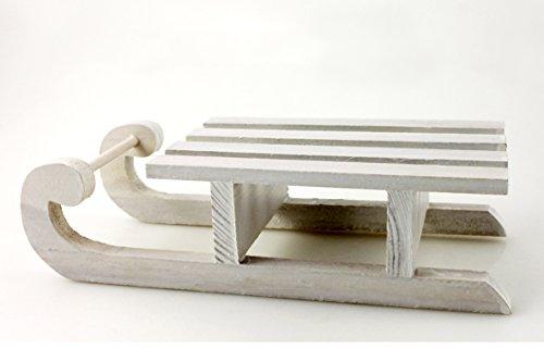 Holz-Deko-Schlitten Fensterschmuck Deko weiß 25 x 10 x 6,5 cm