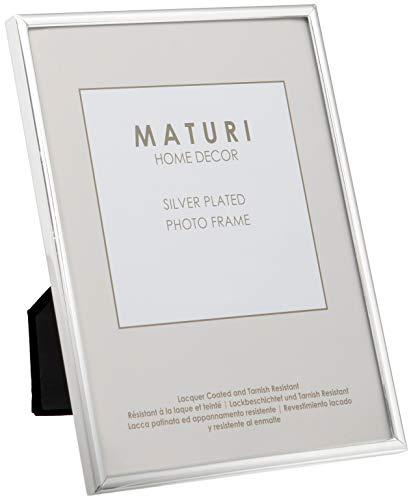 Unity Viceni - Marco para fotos con borde fino, bañado en plata (13 x 18 cm)