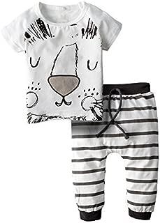 BIG ELEPHANT Unisex Baby 2 Pieces Graphic Short Sleeve Shirt Pants Set