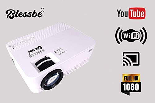 Blessbe Projector LED Projector Android Full HD WiFi Projector for Home 3000 Lumnes Portable for Android /iOS, HDMI, USB, VGA, Memory SD Card (120' Display Size ) -BB1