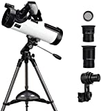 Telescope 114AZ Professional Reflector Telescope - Telescope for Beginners - Fully-Coated Glass Optics - Comes with Cellphone Adapter(1.5X Barlow Lens in it) & 1.25 Inch 13% T Moon Filter