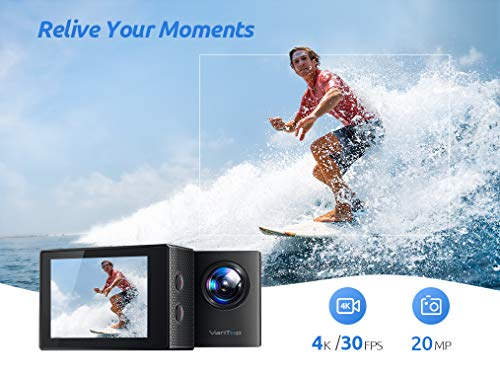 VanTop Moment 4U 4K Action Camera 20MP Underwater Waterproof Camera with EIS, External Microphone, Touch Screen, Slow… 8 Fabulous 4K Action Camera: Featuring professional 4K/30FPS video and 20MP photo resolution, VanTop Moment 4U action camera captures crystal clear and sharp footages for your adventures. The IPS touch screen and humanized operating interface make it easier to set up the camera. Just enjoy the moment for you Hyper-Stable EIS Technology: Built-in advanced Electronic Image Stabilization (EIS) helps to counteract any bump, shake or camera tilt and delivers shake-free, extremely stable and stunning videos. VanTop Moment 4U action camera is built for movements and adventures Waterproof Up to 100FT: You can explore the mysterious submarine world with this underwater camera with its included high quality waterproof case on. It is ideal for water sports such as snorkeling, diving, swimming, surfing, etc. Snap the moments you can't get with your phone with this VanTop Moment 4U