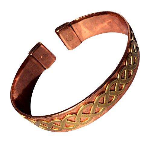 Magnet Kupfer Ehering mit Messing Keltisch Twist massiv Kupfer Armband - 2 Armbanduhr Größen - CCB -mb32 - Small - 153mm (6