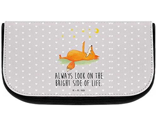 Mr. & Mrs. Panda Kosmetik, Kulturtasche, Kosmetiktasche Fuchs Sterne mit Spruch - Farbe Grau Pastell