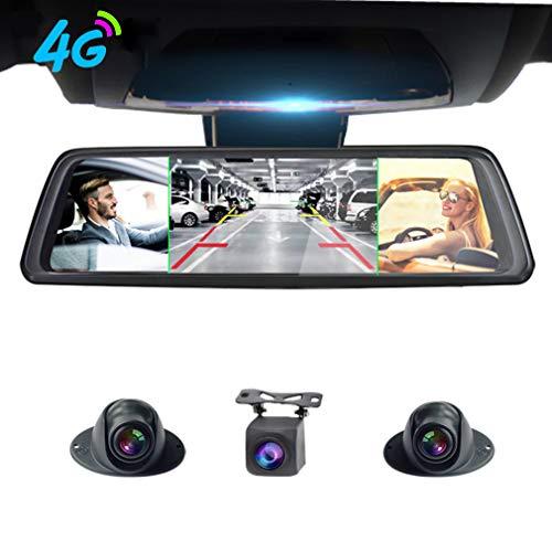 SZKJ V9 plus 360 ° panorámica de 10 pulgadas pantalla completa 4G táctil IPS especial coche Dash Cam espejo retrovisor con GPS Bluetooth WiFi Monitoreo remoto Android 5.1 FHD 1080P 4CH cámaras lente