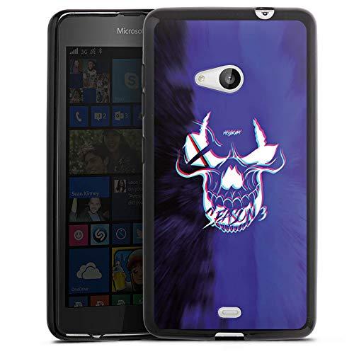 DeinDesign Silikon Hülle kompatibel mit Microsoft Lumia 535 Hülle schwarz Handyhülle Totenkopf Moji YouTube