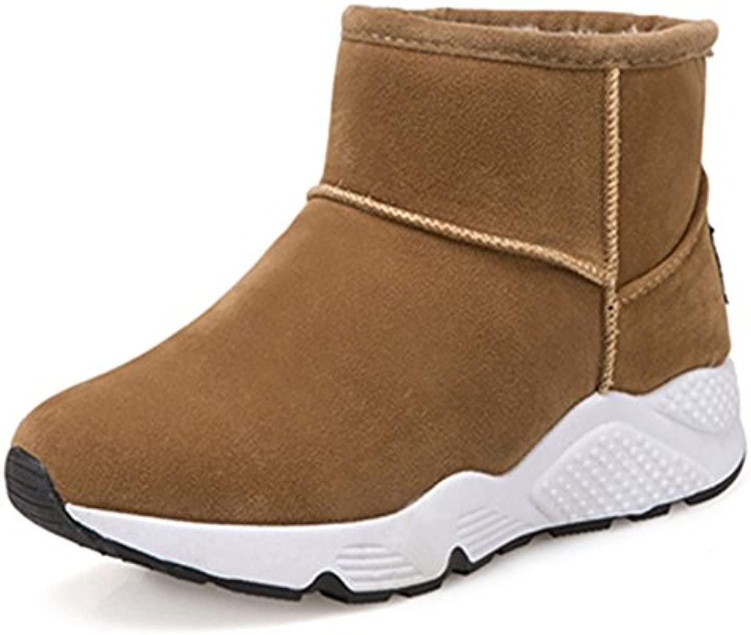 WYMBS Women's shoes Thickening Keep Warm Snow Boots Movement Leisure Short Tube Cotton Boots,Brown,40