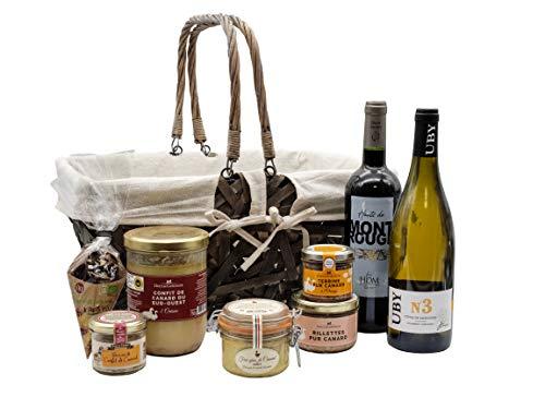 """Ducs de Gascogne - Coffret gourmand """"Panier du Sud-Ouest"""" - comprend 8 produits dont un foie gras entier, un vin blanc sec et un vin rouge - spécial cadeau (946573)"""