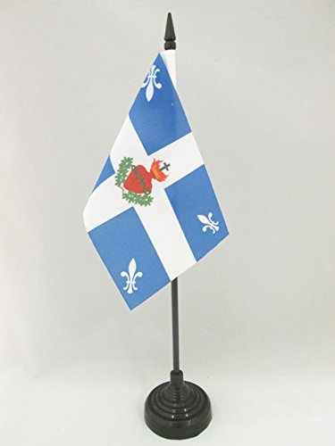 AZ FLAG TISCHFLAGGE Quebec Carillon HEILIGSTES Herz JESU 15x10cm - QUEBECK TISCHFAHNE 10 x 15 cm - flaggen