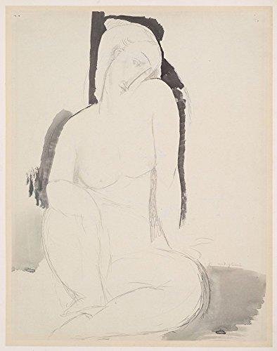 Das Museum Outlet–Amedeo Modigliani–Sitzen Nude, gespannte Leinwand Galerie verpackt. 29,7x 41,9cm