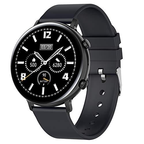 Smartwatch, Fitness Armband Tracker Voller Touch Screen Uhr Pulsmesser Wasserdicht IP68 Armbanduhr Smart Watch Mit Schrittzähler Stoppuhr Bluetooth Sportuhr Für Ios Android Damen Herren,Schwarz