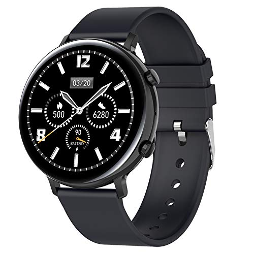 Smartwatch, Fitness Armband Tracker Voller Touch Screen Uhr Pulsmesser Wasserdicht IP68 Armbanduhr Smart Watch Mit Schrittzähler Stoppuhr Bluetooth Sportuhr Für Ios Android Damen Herren,Schwarz