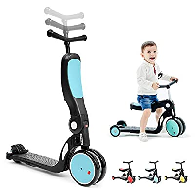 beberoad Kids Scooter, 2020 5-in-1 Kids Tricycles for 2-6 Years Old with Foldable Seat and Adjustable Height Handlebar, Lightweight Multi-Functional Boys and Girls Balance Bike (Sky Blue)