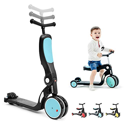 beberoad Kid Scooter, 3 in 1 Kid Tricycle 3 Wheels Toddler Bike Adjustable Height Baby Trike Balance Bike for 2-6 Years Old Boys & Girls