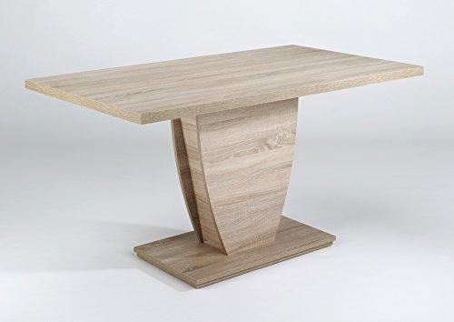 Homexperts Barca 160 Säulentisch, Melamin Sonoma Eiche, 160 x 90, H 75 cm