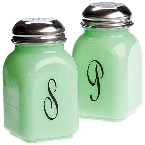 Mosser Glass Salt Pepper Script Jadeite Green Milk Glass Salt & Pepper Shaker Set