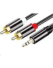 RCAケーブル JAVISEE 3.5mm ステレオミニプラグ to 2RCA (赤/白) 変換 ステレオオーディオケー
