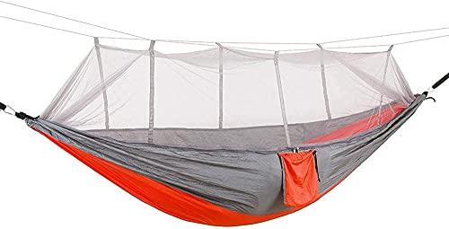 Hamaca para Acampar con mosquitera Contenedor de Hamaca Doble de hasta 440 LB Hamaca de Nailon portátil para Relajarse Viajar por la Playa (Color: Azul) -Naranja