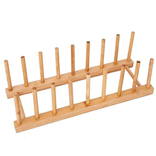 zyl Camisin - Plato de bambú para Plato Taza Libro Tapa para Olla Tabla de Cortar Estante de Secado Soporte escurridor Organizador de Almacenamiento Armario de Cocina (Mantener seco)
