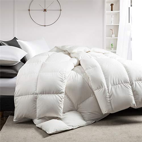 puredown White Down Comforter Year Round Use 100% Cotton 600 Fill Power Medium Warmth Duvet Insert, King Size, White