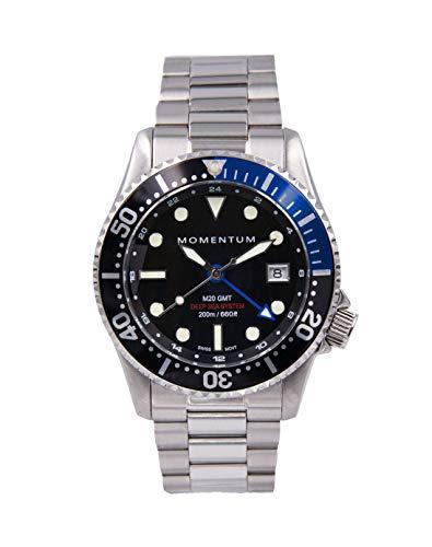 Momentum Reloj para hombre M20 GMT | Movimiento suizo | Superluminova Lume suizo | Resistencia al agua de 200 m/660 pies | 42 mm